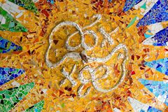 Mosaic in Antoni Gaudi Parc Guell, Royalty Free Stock Image