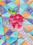 Mosaic apple in the hand stock illustration