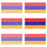 Mosaic Armenia flag set. Mosaic Armenia national flag vector design set Stock Photo
