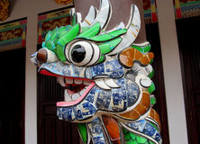 Mosaic asian dragon colorful face Stock Photography