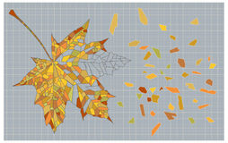 Mosaic autumn leaf. Decorative image of mosaic autumn leaf with broken fragments Royalty Free Stock Images