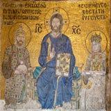 Mosaic in Aya Sofya. Ancient Byzantine mosaic in Aya Sofya stock photos