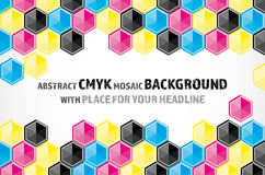 Mosaic background from CMYK colored hexagons. Abstract mosaic background from CMYK colored hexagons on white background with place for your headline - print Royalty Free Illustration