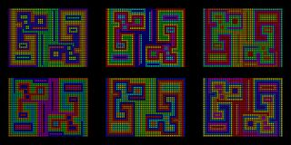 A mosaic background of colored peas in pixel style. Primitive labyrinths in different color versions Stock Photos