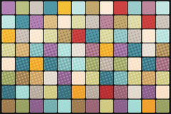 Mosaic background of colored squares. Vintage pop art retro illustration. Halftone bitmap effect Stock Images
