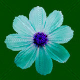 Mosaic background - flower.  Cyan blue flower on a green background.  Vector illustration Royalty Free Stock Photos