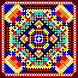 Mosaic background of geometric ornament with colored squares. Illustration mosaic background of geometric ornament with colored squares Stock Photo