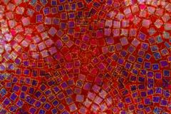 Mosaic Background Square Tiles. A texture pattern background featuring circular patterns of small colored tiles and squares in red and blue stock illustration
