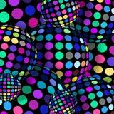 Mosaic balls 3d graphic. Pink lilac azure bright colorful polka dots pattern on spheres. Joyful creative wallpaper. royalty free illustration