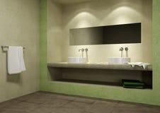 Mosaic bathroom. Green mosaic tiles covered bathroom Stock Images