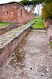Mosaic and baths building ruins in Ostia Antica Royalty Free Stock Photos