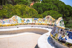 Mosaic Bench in Park Guell Barcelona.  royalty free stock image