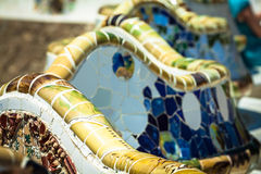Mosaic Bench in Park Guell Barcelona.  royalty free stock images