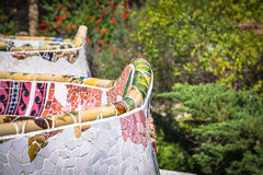 Mosaic Bench in Park Guell Barcelona.  stock photo