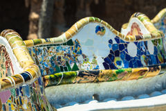 Mosaic Bench in Park Guell Barcelona.  stock images