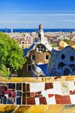 Mosaic bench in Park Guell in Barcelona, Spain Stock Images