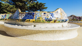 Mosaic bench in Park Guell in Barcelona, Spain.  stock image