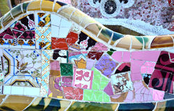 Mosaic bench in Park Guell, Barcelona, Spain Royalty Free Stock Photo
