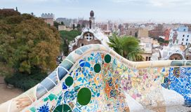Mosaic benches at the Park Guell, Barcelona. Park Guell in Barcelona, Spain Royalty Free Stock Photo