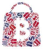 Shopping Collage of Mosaic Bitcoin Shopping Bag Icon royalty free illustration