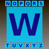 Mosaic blue letters in a cyan mosaic square. Full English alphabet.  Royalty Free Stock Images