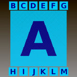 Mosaic blue letters in a cyan mosaic square.   Royalty Free Stock Photos