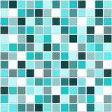Mosaic blue tiles. Seamless square mosaic ceramic tiles in various shades of white, blue and turquoise Royalty Free Stock Photo