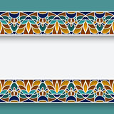 Mosaic border frame in Moorish style Stock Images