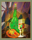 Mosaic. Bottle with glasses and red pepper in the style of stained glass Royalty Free Stock Photography