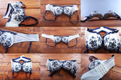 Mosaic of bra photos, wooden background Stock Photography