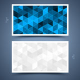 Blue business card template. Abstract background. Blue mosaic business card template. Abstract background, front and back royalty free illustration