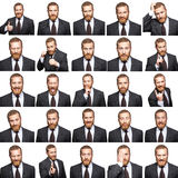 Mosaic of businessman expressing different emotions. The bearded businessman with suit with 25 different emotions. isolated on white. studio shot Stock Photos