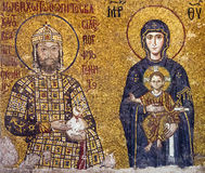 Mosaic byzantine icon of Virgin Mary and Saint Constantine in Ha Stock Photos