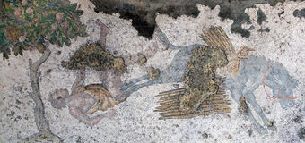 Mosaic from the Byzantine period in the Great Palace Mosaic Muse Stock Image