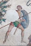 Mosaic from the Byzantine period. Warrior with sword, lance and shield - fragment of ancient mosaic from the Byzantine period in Great Palace of Justinian I in Stock Photos