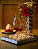 Mosaic candle holder and vase Stock Photography