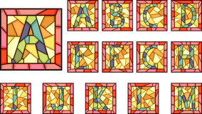 Mosaic capital letters alphabet. Set of mosaic alphabet capital letters from stained glass windows with frame(Part 1 Stock Photos