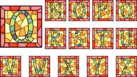 Mosaic capital letters alphabet. Set of mosaic alphabet capital letters from stained glass windows with frame(Part 2 Royalty Free Stock Photo