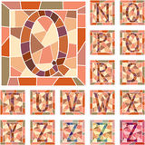 Mosaic capital letters alphabet. Set of mosaic alphabet capital letters in square frame(Part 2 vector illustration