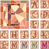 Mosaic capital letters alphabet. Set of mosaic alphabet capital letters in square frame(Part 1 royalty free illustration