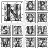 Mosaic capital letters alphabet patterned lines. Stock Image