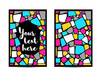 Mosaic card templates on black background Stock Images