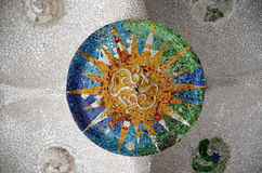 Mosaic on the ceiling. Antonio Gaudi. Park Guell. Stock Photo