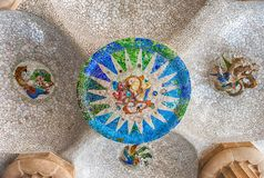 Ceiling with mosaic in Park Guell, Barcelona, Catalonia, Spain royalty free stock image