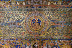Mosaic on the ceiling of Kaiser Wilhelm Memorial Church. BERLIN, GERMANY - OCTOBER 17, 2014: Mosaic on the ceiling of Kaiser Wilhelm Memorial Church. Partially Stock Photo