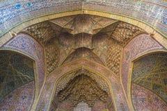 Mosaic ceiling in Nasir Al-Mulk Mosque in Shiraz, Iran. Ornate mosaic ceiling with pink rose pattern, besutiful Iranian architecture in Nasir Al-Mulk Mosque in Stock Photo