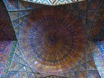 Mosaic ceiling of Nasir ol Molk Mosque in Shiraz Iran Royalty Free Stock Images