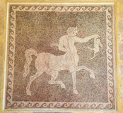 Mosaic of a Centaur holding a rabbit in the Museum of Rhodes, Gr. Eece.This mozaic was created in the 5th Century BC stock photography