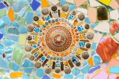 Mosaic ceramic abstract wall in Wat Phasornkaew Thai temple. Stock Photography