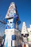 mosaic chimneys ,  Barcelona, Spain Stock Photo